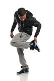 Hip Hop Dancer Performing. African American hip hop dancer performing isolated over white background Stock Images