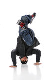 Hip Hop Dancer Performing Headstand. African American hip hop dancer performing headstand Stock Photography