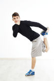 Hip hop dancer performing isolated over white background Stock Photos