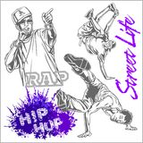 Hip hop dancer on white background Royalty Free Stock Images