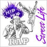 Hip hop dancer on white background Stock Images