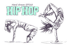 Hip hop dancer. Young girls. Hand drawn vector illustration. Isolated Stock Images