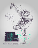Hip hop dancer. Young man. Hand drawn vector illustration. Isolated Stock Image