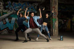 Hip hop dancers practicing a routine Royalty Free Stock Photo