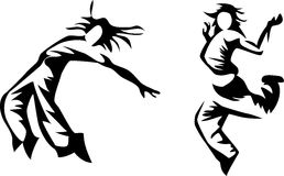 Hip hop dancers. Stylized hip hop dancers - black and white illustration Royalty Free Stock Photo