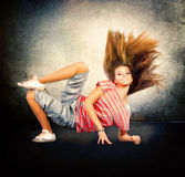 Hip-Hop Dancing Girl. Dance. Hip-Hop Dancer. Dancing Teenage Girl royalty free stock photo