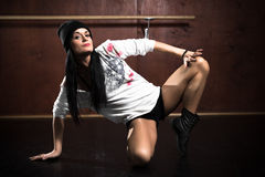 Hip hop dancing girls Royalty Free Stock Images