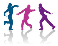 Hip hop dancing girls. Detailed silhouettes of hip hop dancers Royalty Free Stock Image