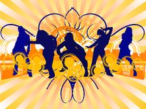 Hip-Hop Dancing Girls Silhouet. Te on City Background. Vector Illustrate. No Meshes Royalty Free Stock Photos