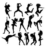 Hip Hop Dancing Silhouettes. Art vector design Stock Photography
