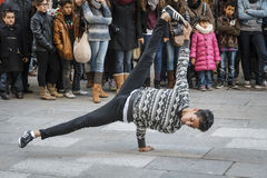 Hip Hop dancing street performer royalty free stock images