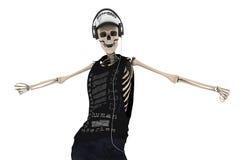 Hip Hop-de Skeletdans met hoofdtelefoon stelt met het knippen van weg Royalty-vrije Stock Fotografie