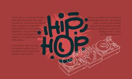 Hip Hop Design With A Dj Sound Mixer And Turntables Drawing Not Isolated And An Area For Additional Text Information Royalty Free Stock Photo