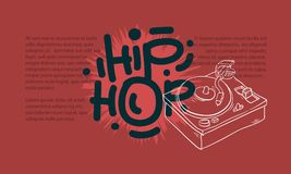 Hip Hop Design With A Turntable Drawing And An Area For Additional Text Information. Artistic Cartoon Hand Drawn Sketchy Stock Image