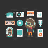 Hip hop DJ and music instrumental. Set of old style listening gadget with DJ, retro revival Royalty Free Stock Images