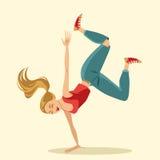 Hip hop female dancer. Cartoon hip hop female dancer, vector Stock Photo