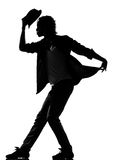 Hip hop funk dancer dancing man. Full length silhouette of a young man dancer dancing funky hip hop r&b on isolated studio white background royalty free stock photos