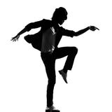 Hip hop funk dancer dancing man. Full length silhouette of a young man dancer dancing funky hip hop r&b on isolated studio white background royalty free stock photo