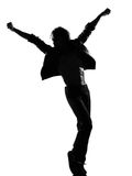Hip hop funk dancer dancing man. Full length silhouette of a young man dancer dancing funky hip hop r&b on isolated studio white background stock images