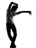 Hip hop funk dancer dancing man. Full length silhouette of a young man dancer dancing funky hip hop r&b on isolated studio white background stock photos