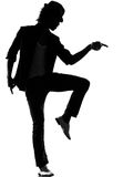 Hip hop funk dancer dancing man. Full length silhouette of a young man dancer dancing funky hip hop r&b on isolated studio white background royalty free stock images