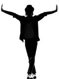 Hip hop funk dancer dancing man. Full length silhouette of a young man dancer dancing funky hip hop r&b on isolated studio white background royalty free stock image