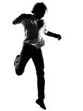 Hip hop funk dancer dancing man. Full length silhouette of a young man dancer dancing funky hip hop r&b on isolated studio white background royalty free stock photography