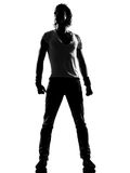 Hip hop funk dancer dancing man standing. Full length silhouette of a young man dancer dancing standing funky hip hop r&b on isolated studio white background stock photos