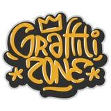 Hip Hop gällde etikettsgrafitti påverkade etiketttecknet Logo Lettering för t-skjorta eller klistermärke på en vit bakgrund Vecto stock illustrationer
