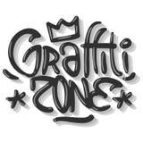 Hip Hop gällde etikettsgrafitti påverkade etiketttecknet Logo Lettering för t-skjorta eller klistermärke på en vit bakgrund Vecto vektor illustrationer