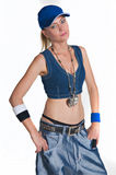 Hip hop girl. Pretty woman in hip hop outfit stock photos