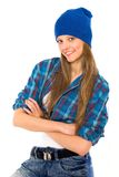 Hip-hop girl. Hip-hop styled girl over white background royalty free stock photography