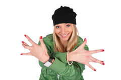 Hip-hop girl fingers wide Stock Photography