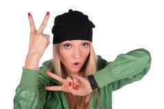 Hip-hop girl gesture V royalty free stock image