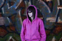 Hip hop girl and graffiti Royalty Free Stock Image