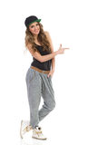 Hip hop girl pointing Stock Photo