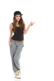 Hip hop girl pointing Stock Image