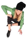 Hip-hop girl sitting on floor Stock Image