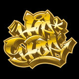 Hip-Hop in golden graffiti funky style. Stock Photos