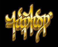 Hip-Hop in golden graffiti style. Vector text. Royalty Free Stock Photography