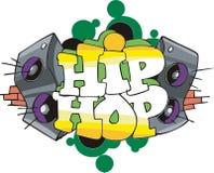 Hip Hop graffiti design. Abstract graffito design with Hip-Hop inscription and speakers. Vinyl-ready EPS Illustration stock illustration