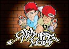 Hip Hop Graffiti. Vector  illustration  Graphic cartoon Graffiti  Hip hop Royalty Free Stock Photo
