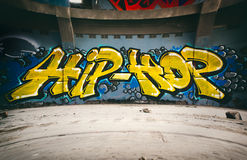 Hip Hop. Graffiti wall with Hip Hop, urban art Royalty Free Stock Images
