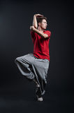 Hip-hop guy is dancing Stock Images