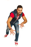 Hip hop guy. Hp hop guy dancing isolated on white background Royalty Free Stock Photography