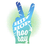 Hip Hop Hooray on Peace Hand Sign. Colored Vector Outline Artwork Royalty Free Stock Image