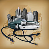 Hip-hop illustration. Vintage colors combined with old-fashioned car and the city behind. The composition is pimped up by arrows, splatters, circles and paint Stock Image