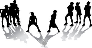 Hip Hop Kids. Silhouette with shadows of two groups of hip hop kids in a dance contest Stock Photo