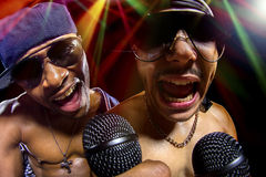 Hip Hop konsert med rappare arkivbild
