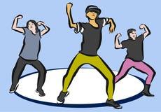 Hip Hop koreografi på blått stock illustrationer